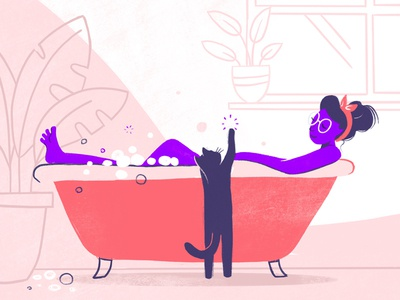 Bath bathroom bubble bath cat kitten relax bathing bubbles cat woman bath