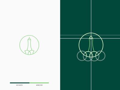 Minar-e-Pakistan - logo design minimal logodesign logo mark clean white green tourism grid golden ratio lahore pakistan minar tower minimalist icon modern graphicdesign flat elegant