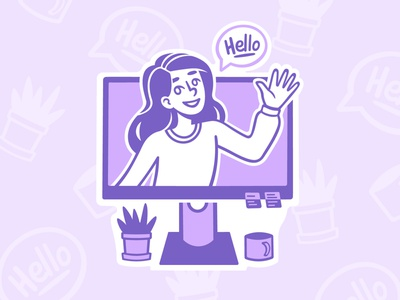 Welcome Screen Girl speedpaint welcome screen window purple girl procreate illustrator vector design illustration