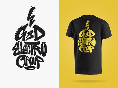 G&D flash vector elegant label california handmade lettering tshrt design yellow black custom type art calligraphy typo electro group logo design branding typohraphy