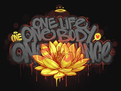 One travel fashion print black yellow lotos calligraphy georgi dimitrov vector branding art graffiti logo erase illustration typography one chance one body one love one life