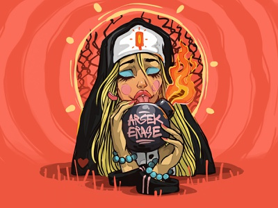 The Nun arsek bomb ipadpro procreate vectorart t-shirt design dreams work commission open nun apple design art love logo graffiti dimitrov georgi erase illustration