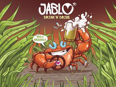 Jablo raster art direction graffiti cheers nature leaves funny crab organic beer brand alcohol free beer label apple erase dimitrov georgi design branding illustration