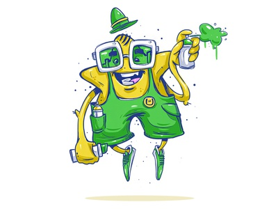Super Star love spray apple sprite fresh yellow green logo illustration character star super