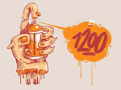 1200 spray erase digital art apple orange illustration logo 1200 hand design t-shrt