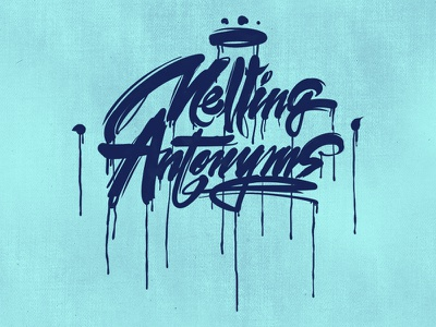 Melting Antonyms art project apple blue font graffiti typo logo calligraphy antonyms melting