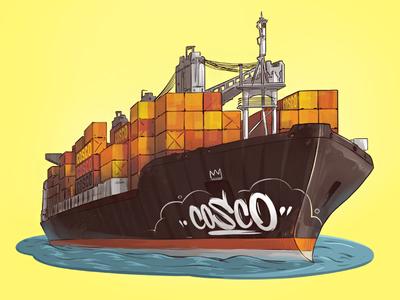 Cosco  commission orange fresh water logo illustration cargo container cosco ship