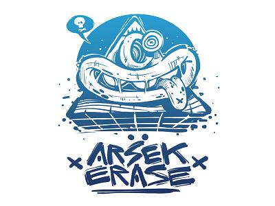 Arsek & Erase shop online bigcartel blue apple grraffiti design logo illustration erase arsek