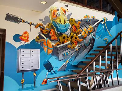 Electric Boat interior callifornia lcd electronic fresh work commission boat octopus mural graffiti design