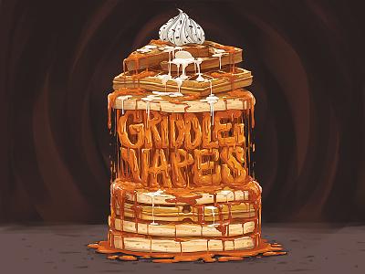 Griddle Vapes french e-liquid waffles pancake design box cigarette electronic illustration vapes griddle syrup toast