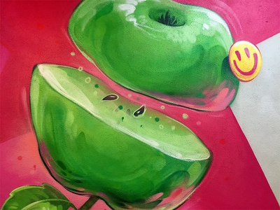 Apple smile green fresh commission graffiti paint wall design interior ground site apple