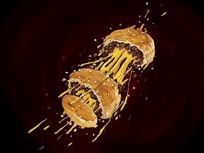 Da Bomb foodgasm foodaddict delicious meatlover cheese yummy tasty foodporn foodie illustration bomb food
