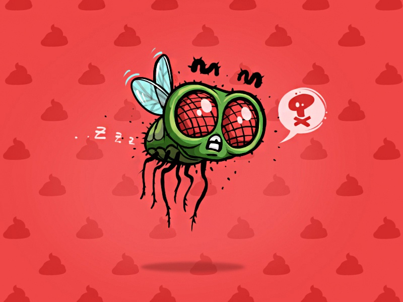 Fly fresh character design bug icon art funny apple insects fly logo illustration