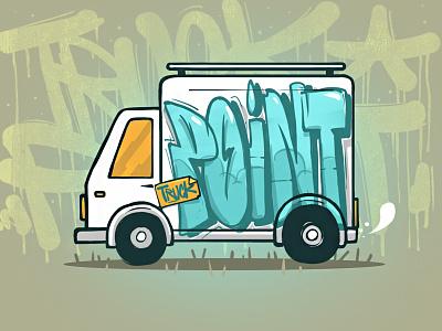 Truck Point food delivery fresh summer road blue art point truck illustration design logo
