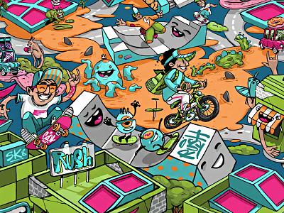 Rush Town fun jump monster bike creatures crazy skate parks trampoline town rush illustration