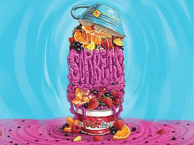 Sorbets apple design logo fruits yogurt sorbets melting tasty fresh cream ice illustration