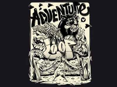 Adventure bulgaria four plus arsek erase monster heart bw black and white typography graffiti fresh funny animals adventure illustration italy milan loop spray cans design t-shrt