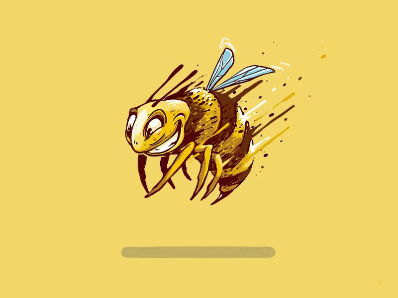 Happy Bee love fresh dimitrov georgi erase art direction design art fashion travel brown yellow digitalart graffiti logo design label beer furios sketch illustration bee