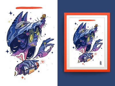 Wolf Girl customer collector collection illustration art digital painting artists animals wolf girl design graffiti printing artist signed limited edition print design print