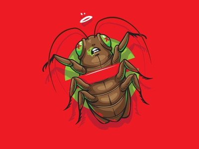 OUCH protect animal bulgarian реклама print digitalart graffiti commission poison red cockroach insects apple bug art logo design vector erase illustration