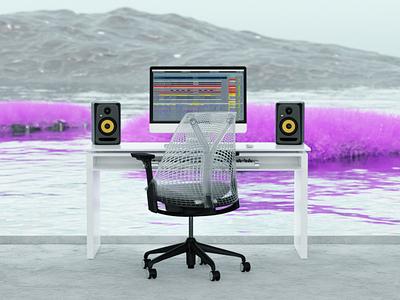 dreamy office space illustration productdesign 3d artist 3d animation design 3ddesign motiondesign 3d modeling cgi 3d