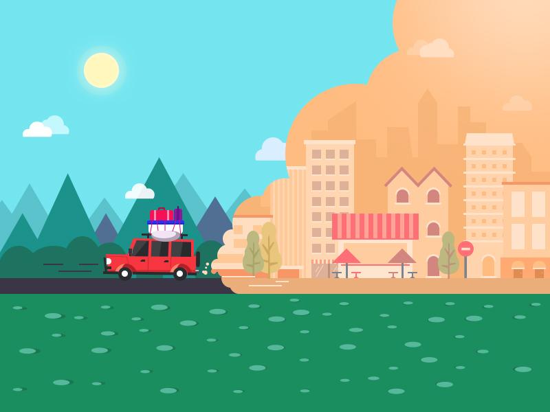 Illustration Travel holiday self-driving city graph travel trip illustration