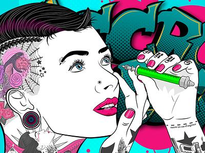 Tattooed Girl Poster tattoo girl poster vectorart vector illustrator