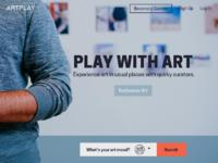 Art community marketplace website landing page
