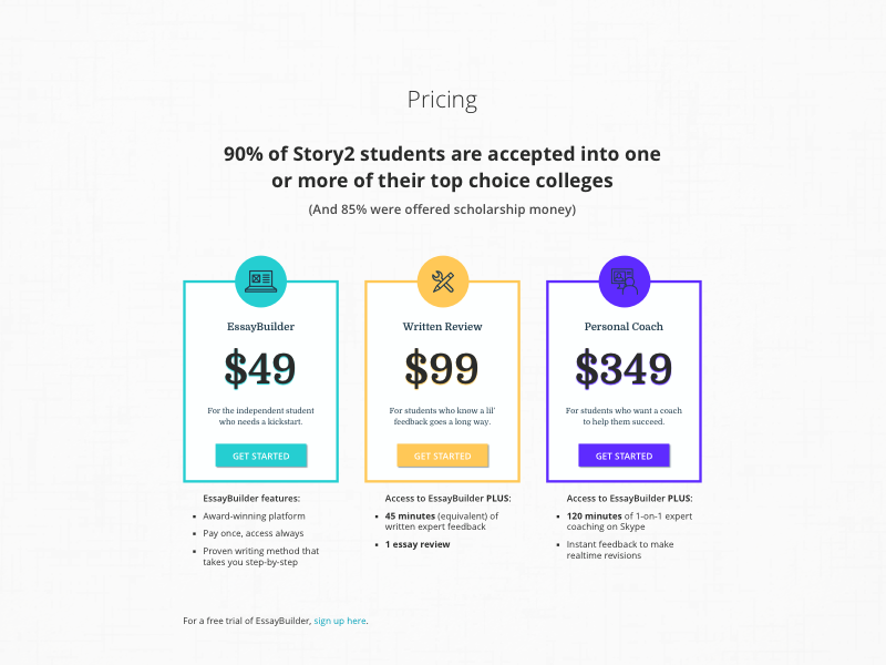Startup Pricing Table Pricing Page Design sketch writing education startup pricing page pricing table pricing