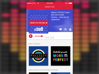 WNYC Public Radio App Screen Redesign product design ui ux podcast