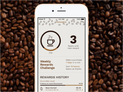 Coffee Rewards Loyalty App dashboard iphone redesign uxui ios app loyalty program starbucks coffee