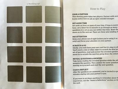 36 Questions To Fall In Love Scratch Off scratch-off card print love