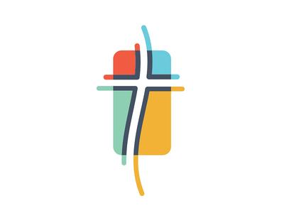 Church Cross modern gabriel schut 4-color line church cross logo