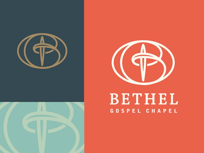 Bethel Gospel Chapel clean modern gabriel schut minimal line typography church cross logo