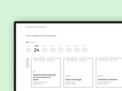 Museo de Memoria Histórica de Colombia - Schedule desktop typography black white clean ui schedule calendar