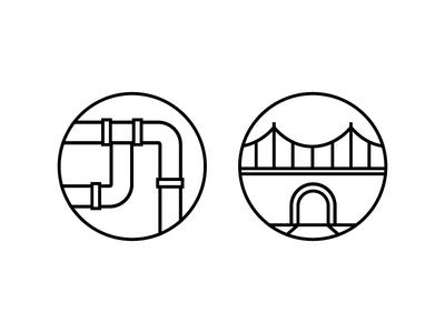 Civil Engineering Icon Exploration company white black clean line design icon