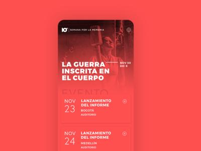10ª Semana por la Memoria responsive web cards mobile clean black red