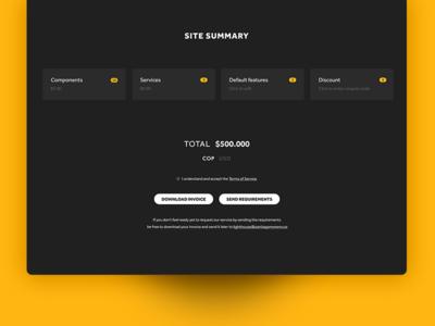 Order Review desktop service cart ux ui clean yellow black