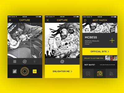 Scope concept clean yellow black ux ui app