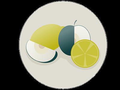 Mono Fruits lemon apple stilllife fruit vector illustration design