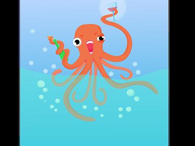 Octopus sea octopus animal vector illustration design