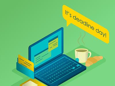 It's deadline day! laptop isometric vector design illustration