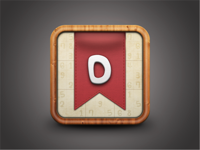 Doku Icon Concept ios app icon game wood texture sudoku numbers