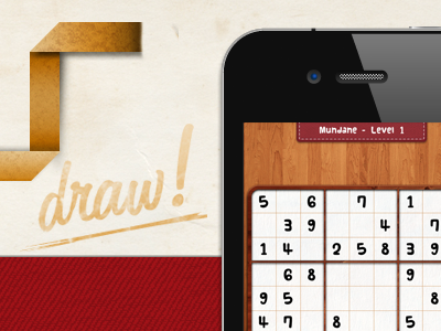 Doku Website iphone app game website sudoku texture leather wood paper realistic red brown orange