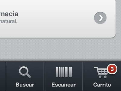 Primor ios app ui tabbar shopping cart badge texture list clean icons blue grey