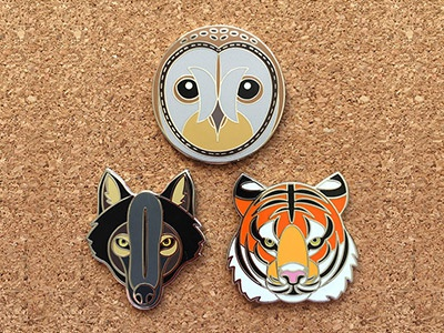 Wildlife Pin Badges barn owl wearable art pin badge wolf tiger wildlife pin