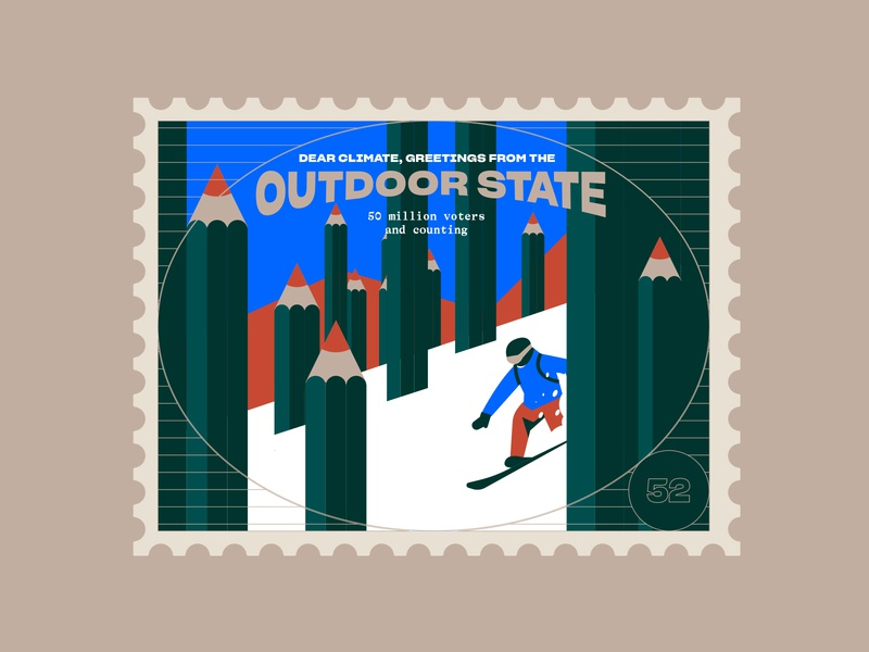 Outdoor stamp planet protect elections ski winter mountains united states usa stamp vote