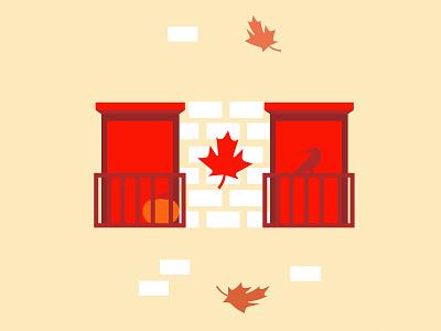 Fall season in Canada minimalist illustration house window fall season autumn halloween crow quebec maple leaf leaves fall canada