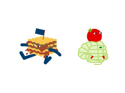 Food characters exploration tomato pasta pesto lasagna character food
