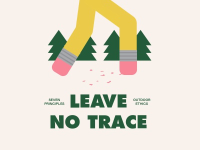 Leave no trace illustration national park earth footprints trace hike outdoor forest mountain nature leave no trace